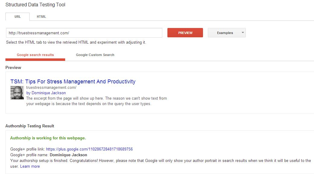 Google Authorship Structured Data Testing Tool