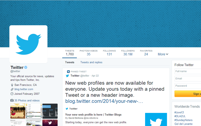 New Twitter Layout 2014