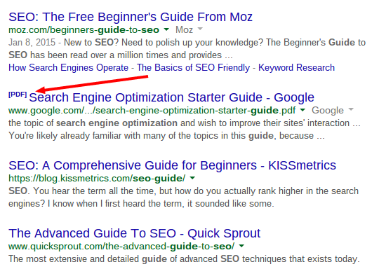PDF file google results