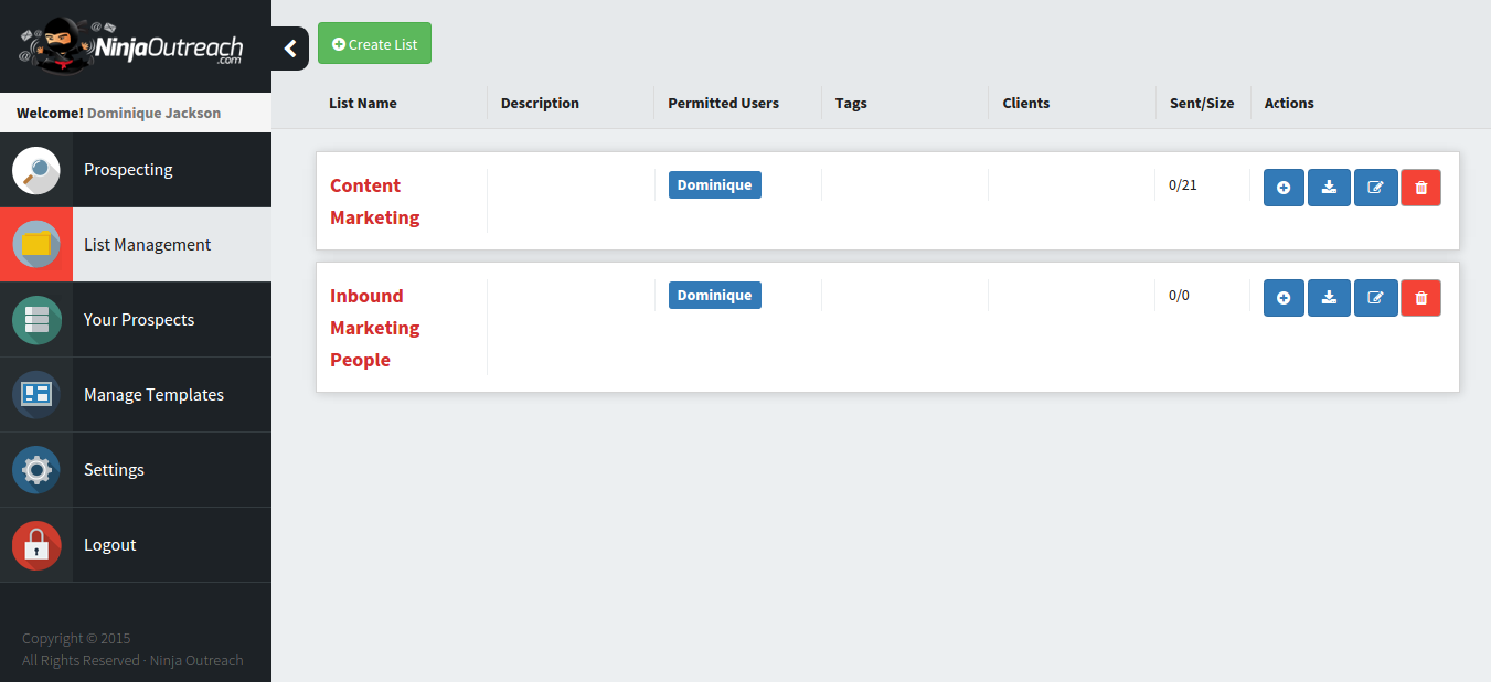 Ninja Outreach List Management Screen