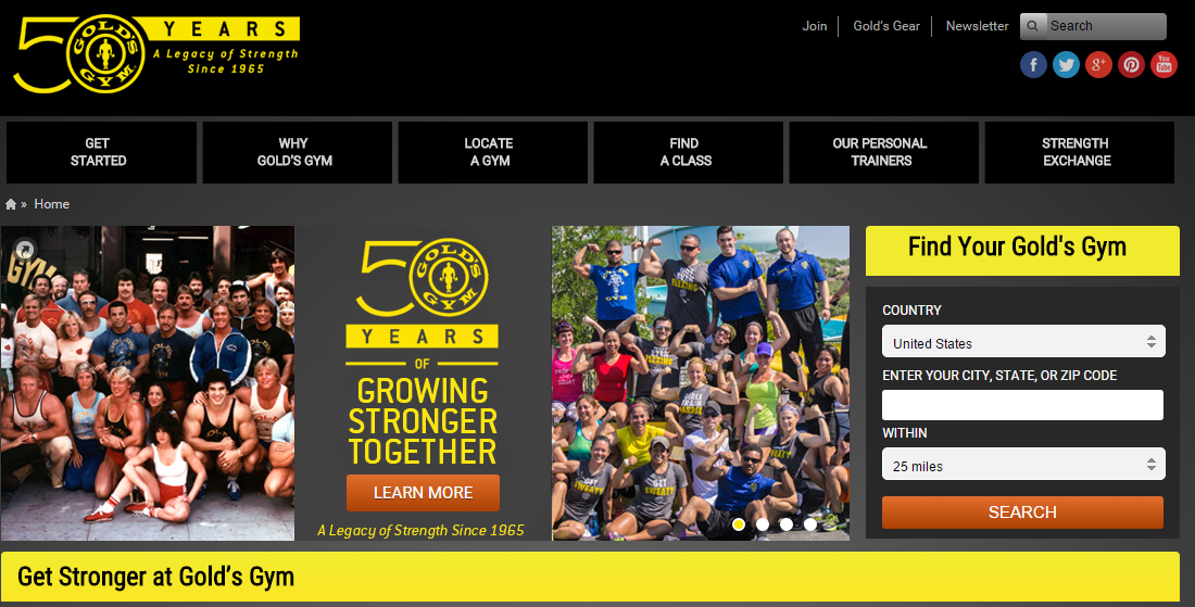 Gold Gym Home Page