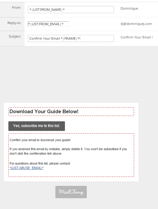 MailChimp Confirmation Email