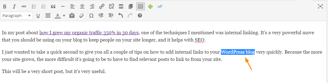 How to add internal links to wordpress step 1