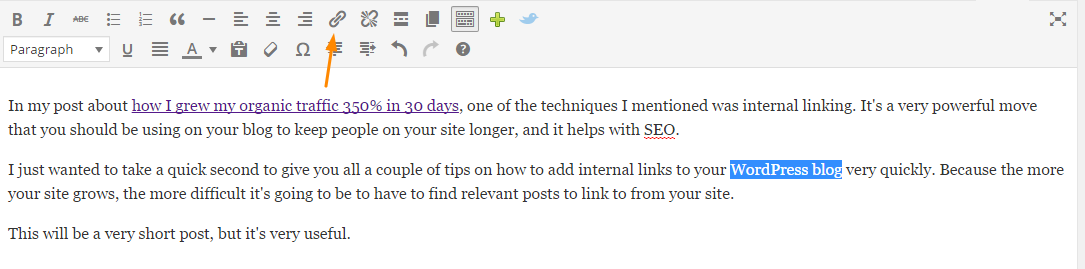 How to add internal links to wordpress step 2