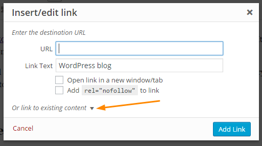 How to add internal links to wordpress step 3