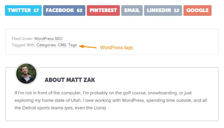 WordPress tags example