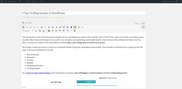 distraction-free writing mode wordpress
