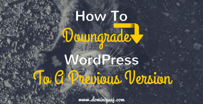 How To Downgrade WordPress To A Previous Version