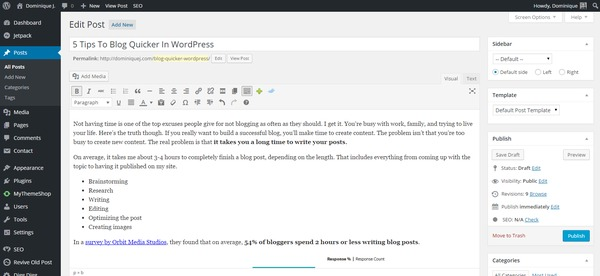 wordpress writing dashboard