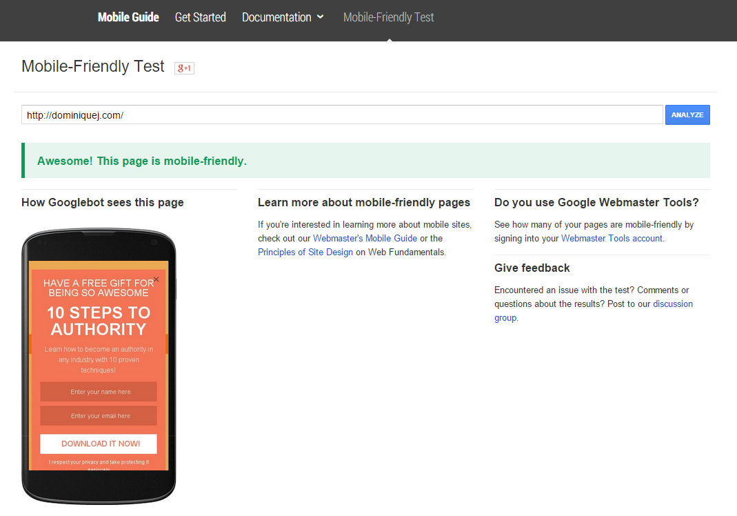 Google Mobile friendly checker tool