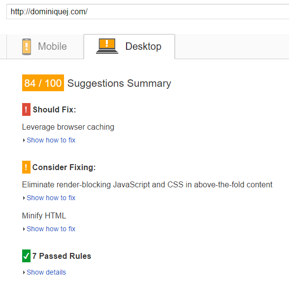 KeyCDN Review - Desktop Page Speed Before