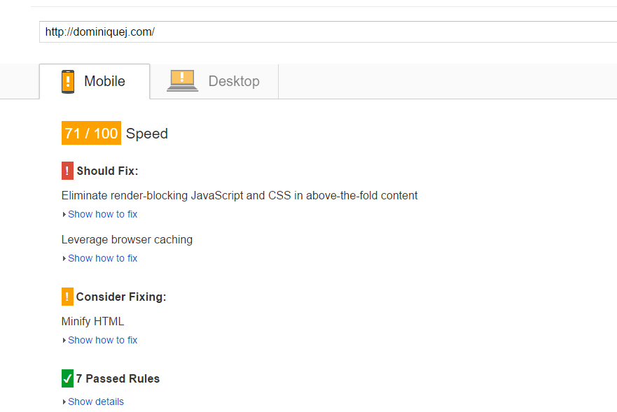KeyCDN Review - Mobile Page Speed Before